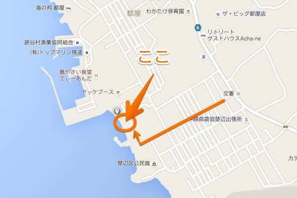 楚辺ビーチへの地図